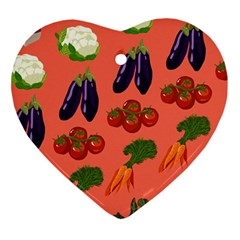 Vegetable Carrot Tomato Pumpkin Eggplant Ornament (heart) by Mariart