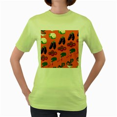 Vegetable Carrot Tomato Pumpkin Eggplant Women s Green T Shirt
