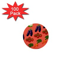 Vegetable Carrot Tomato Pumpkin Eggplant 1  Mini Buttons (100 Pack)  by Mariart