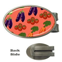 Vegetable Carrot Tomato Pumpkin Eggplant Money Clips (oval)  by Mariart