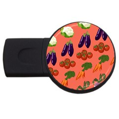 Vegetable Carrot Tomato Pumpkin Eggplant Usb Flash Drive Round (2 Gb) by Mariart