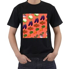Vegetable Carrot Tomato Pumpkin Eggplant Men s T Shirt (black) (two Sided) by Mariart