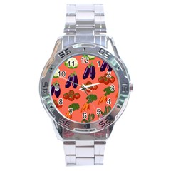 Vegetable Carrot Tomato Pumpkin Eggplant Stainless Steel Analogue Watch by Mariart