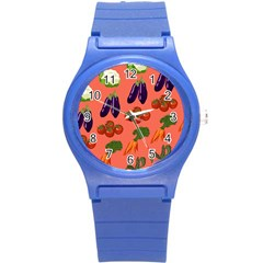 Vegetable Carrot Tomato Pumpkin Eggplant Round Plastic Sport Watch (s) by Mariart