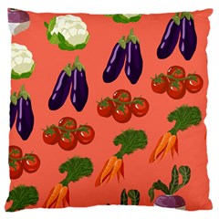 Vegetable Carrot Tomato Pumpkin Eggplant Large Cushion Case (two Sides) by Mariart