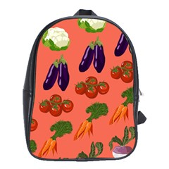 Vegetable Carrot Tomato Pumpkin Eggplant School Bag (xl) by Mariart