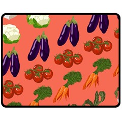 Vegetable Carrot Tomato Pumpkin Eggplant Double Sided Fleece Blanket (medium)  by Mariart