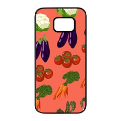 Vegetable Carrot Tomato Pumpkin Eggplant Samsung Galaxy S7 Edge Black Seamless Case by Mariart