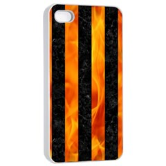 Stripes1 Black Marble & Fire Apple Iphone 4/4s Seamless Case (white) by trendistuff