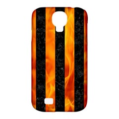 Stripes1 Black Marble & Fire Samsung Galaxy S4 Classic Hardshell Case (pc+silicone) by trendistuff