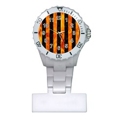 Stripes1 Black Marble & Fire Plastic Nurses Watch by trendistuff