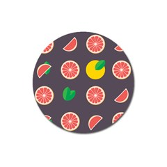 Wild Textures Grapefruits Pattern Lime Orange Magnet 3  (round) by Mariart