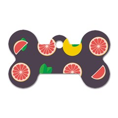 Wild Textures Grapefruits Pattern Lime Orange Dog Tag Bone (one Side) by Mariart