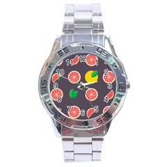 Wild Textures Grapefruits Pattern Lime Orange Stainless Steel Analogue Watch by Mariart