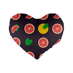 Wild Textures Grapefruits Pattern Lime Orange Standard 16  Premium Flano Heart Shape Cushions by Mariart