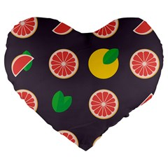 Wild Textures Grapefruits Pattern Lime Orange Large 19  Premium Flano Heart Shape Cushions by Mariart