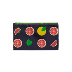 Wild Textures Grapefruits Pattern Lime Orange Cosmetic Bag (xs) by Mariart