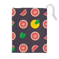 Wild Textures Grapefruits Pattern Lime Orange Drawstring Pouches (extra Large) by Mariart