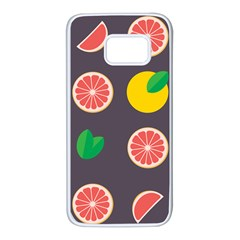 Wild Textures Grapefruits Pattern Lime Orange Samsung Galaxy S7 White Seamless Case by Mariart