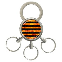 Stripes2 Black Marble & Fire 3 Ring Key Chains by trendistuff