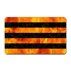 Stripes2 Black Marble & Fire Magnet (rectangular) by trendistuff