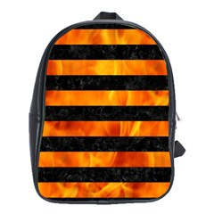 Stripes2 Black Marble & Fire School Bag (xl) by trendistuff