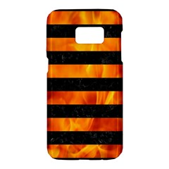 Stripes2 Black Marble & Fire Samsung Galaxy S7 Hardshell Case