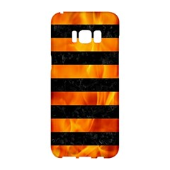 Stripes2 Black Marble & Fire Samsung Galaxy S8 Hardshell Case  by trendistuff