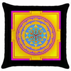 Triangle Orange Pink Throw Pillow Case (black) by Mariart