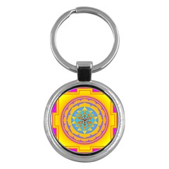 Triangle Orange Pink Key Chains (round)  by Mariart