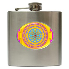 Triangle Orange Pink Hip Flask (6 Oz) by Mariart