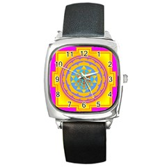 Triangle Orange Pink Square Metal Watch by Mariart