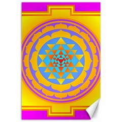 Triangle Orange Pink Canvas 24  X 36  by Mariart