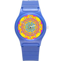 Triangle Orange Pink Round Plastic Sport Watch (s) by Mariart