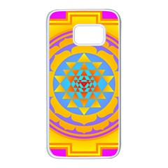 Triangle Orange Pink Samsung Galaxy S7 White Seamless Case by Mariart
