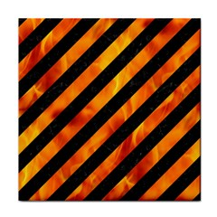 Stripes3 Black Marble & Fire Tile Coasters by trendistuff