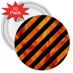 Stripes3 Black Marble & Fire 3  Buttons (10 Pack)  by trendistuff