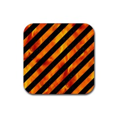 Stripes3 Black Marble & Fire Rubber Coaster (square)  by trendistuff