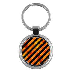 Stripes3 Black Marble & Fire Key Chains (round)  by trendistuff