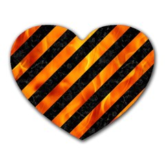 Stripes3 Black Marble & Fire Heart Mousepads