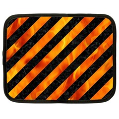 Stripes3 Black Marble & Fire Netbook Case (large) by trendistuff