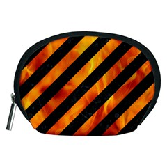 Stripes3 Black Marble & Fire Accessory Pouches (medium)  by trendistuff