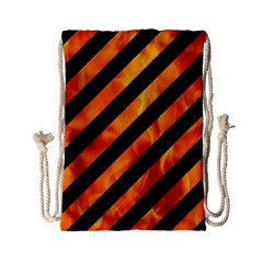Stripes3 Black Marble & Fire Drawstring Bag (small) by trendistuff