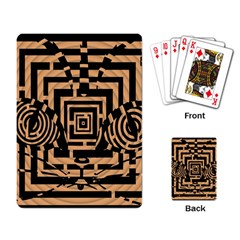 Wooden Cat Face Line Arrow Mask Plaid Playing Card by Mariart