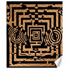 Wooden Cat Face Line Arrow Mask Plaid Canvas 8  X 10  by Mariart
