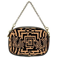 Wooden Cat Face Line Arrow Mask Plaid Chain Purses (two Sides)  by Mariart