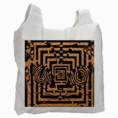 Wooden Cat Face Line Arrow Mask Plaid Recycle Bag (one Side) by Mariart