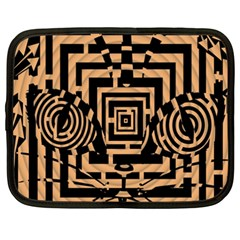 Wooden Cat Face Line Arrow Mask Plaid Netbook Case (xxl)  by Mariart