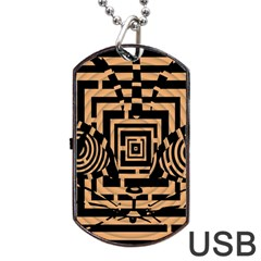 Wooden Cat Face Line Arrow Mask Plaid Dog Tag Usb Flash (one Side) by Mariart