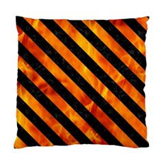 Stripes3 Black Marble & Fire (r) Standard Cushion Case (two Sides) by trendistuff